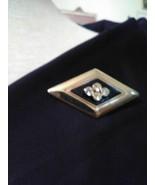 VINTAGE GOLDEN PIN BROOCH GEOMETRIC BLACK ENAMEL JEWELLED DIAMOND SHAPE - $20.00