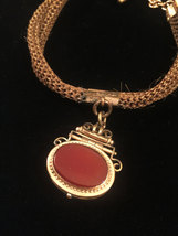 Victorian Woven Hair Mourning pocket watch fob with 2 sided locket image 2
