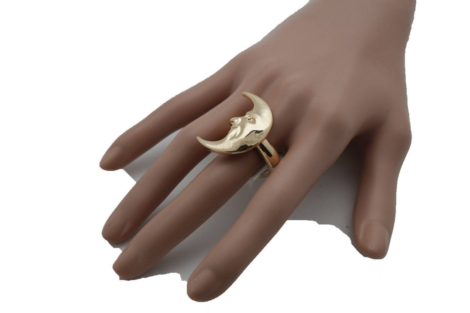 Cool Women Gold Metal Ring Fashion Jewelry Big Half Moon Face Smile Elastic Band