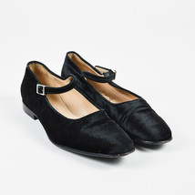 Salvatore Ferragamo Black Velvet Mary Jane Low Heel Flats SZ 8 - $120.06 CAD