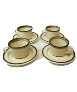 Set of 4  Stoneware Cups & Saucers Vintage ?? USA Beige Green Brown Trim - $21.92