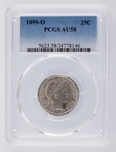 1899-O Barber Quarter 25C Graded by PCGS as AU-58 image 1