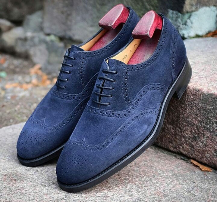 Handmade Men Navy Blue Wing Tip Heart Medallion Dress/Formal Oxford Suede Shoes