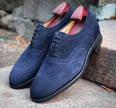Handmade Men Navy Blue Wing Tip Heart Medallion Dress/Formal Oxford Suede Shoes image 1