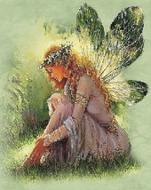 Green Winged Fairy in Meadow Fantasy Baby Doll Shirt SM - €11,83 EUR