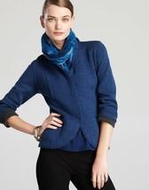 Eileen Fisher M Merino Wool Double Knit Shaped Jacket in Blue Bonnet Fra... - $78.21