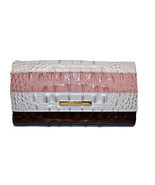 Brahmin Soft Checkbook Wallet Toasted Macaroon Cassini DAZZLING Clutch $... - €144,74 EUR