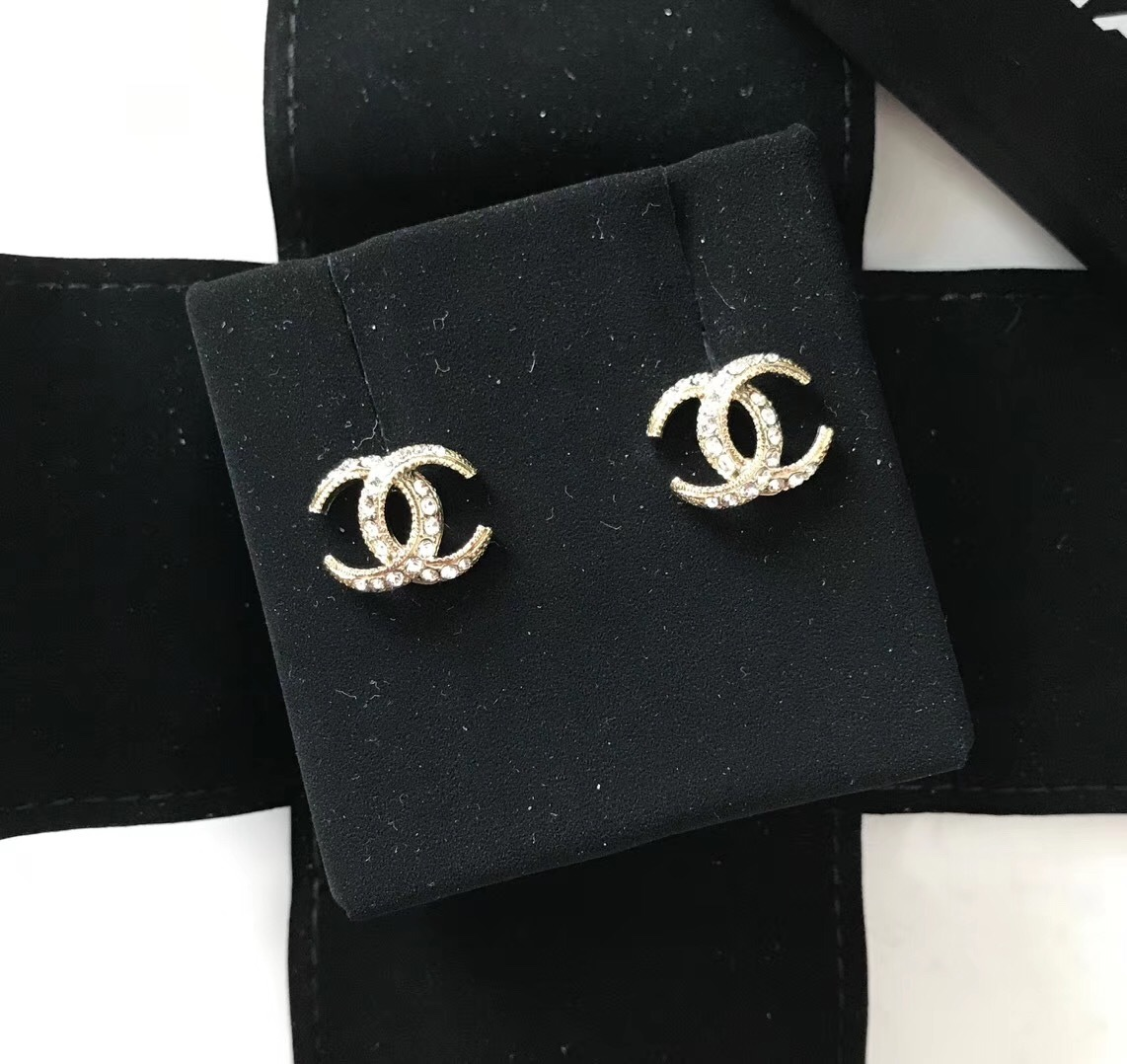 Authentic CHANEL CRESCENT MOON CC logo Gold tone & Crystal Stud Earrings RARE