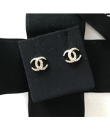 Authentic CHANEL CRESCENT MOON CC logo Gold tone & Crystal Stud Earrings... - $459.99