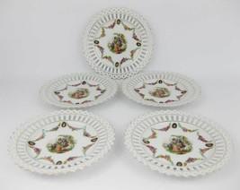 German Pierced Lattice Cut Plates Victorian Couple (Lot of 5)Flowered Ga... - $45.00