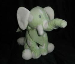 Baby Abenteuer Grün Weiß Gepunktet Elefant Plüschtier Spielzeug Weich Bogen - $23.03
