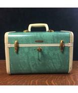 Vintage SAMSONITE Aqua Turquoise Blue Train Case w/ Key Makeup Travel Lu... - $46.74