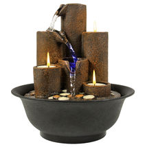 Tabletop Fountain Waterfall With Lights And Candles Indoor Home Decoration - $39.99