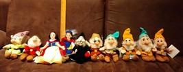 DISNEY Snow White and the Seven 7 Dwarfs + Witch +Prince Mini BeanBag Pl... - $34.99