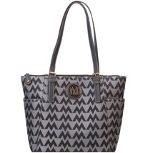 M LOGO unbranded Jaquard HANDBAG DESIGNER LOOK GREY TOTE PURSE WITH BLAC... - $24.99