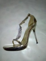Sexy Women's Strappy Gold Tone Heels With Costume Diamonds - Size 7 - $26.40