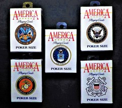 Hoyle AMERICA PLAYING CARDS / NOS /  ALL 5 MILITARY  BRANCHES - $99.00
