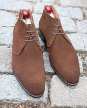 Handmade Men's Brown High Ankle Chukka Dress Suede Shoes image 3