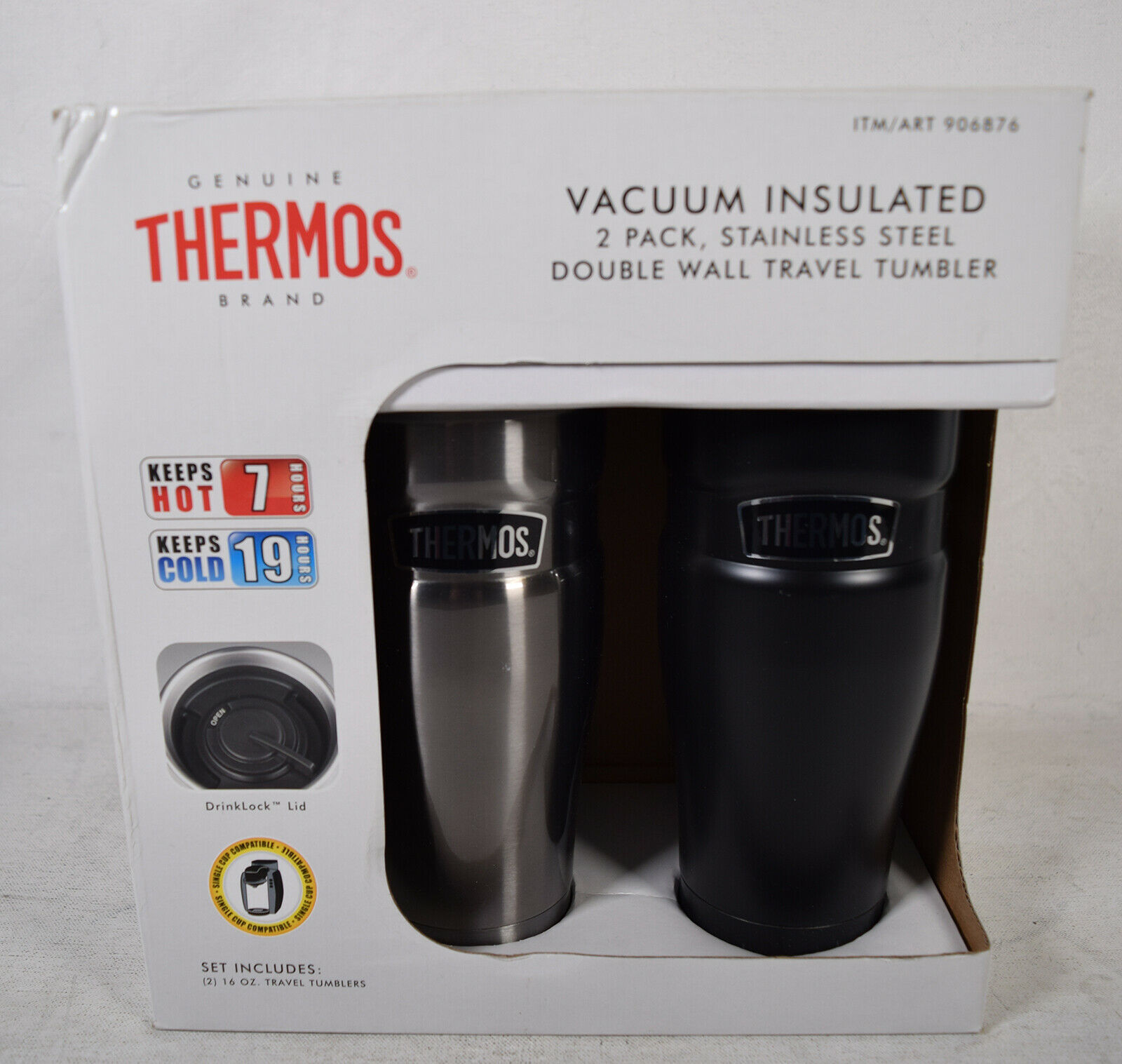 Primary image for Thermos 16 oz Vacuum Insulated Stainless Steel 2 Pack Travel Tumbler Drink