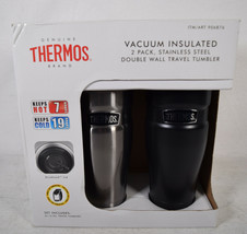 Thermos 16 oz Vacuum Insulated Stainless Steel 2 Pack Travel Tumbler Drink   - $31.68