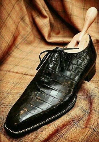 Primary image for Men Handmade Black Crocodile Patterned shoes, Mens black Alligators dress shoes