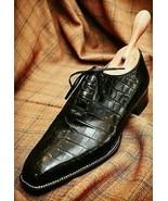 Men Handmade Black Crocodile Patterned shoes, Mens black Alligators dres... - $179.99+