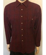 Men's Pendleton Long Sleeve BF 100% Virgin Wool Burgundy Blue Plaid Shir... - $38.69
