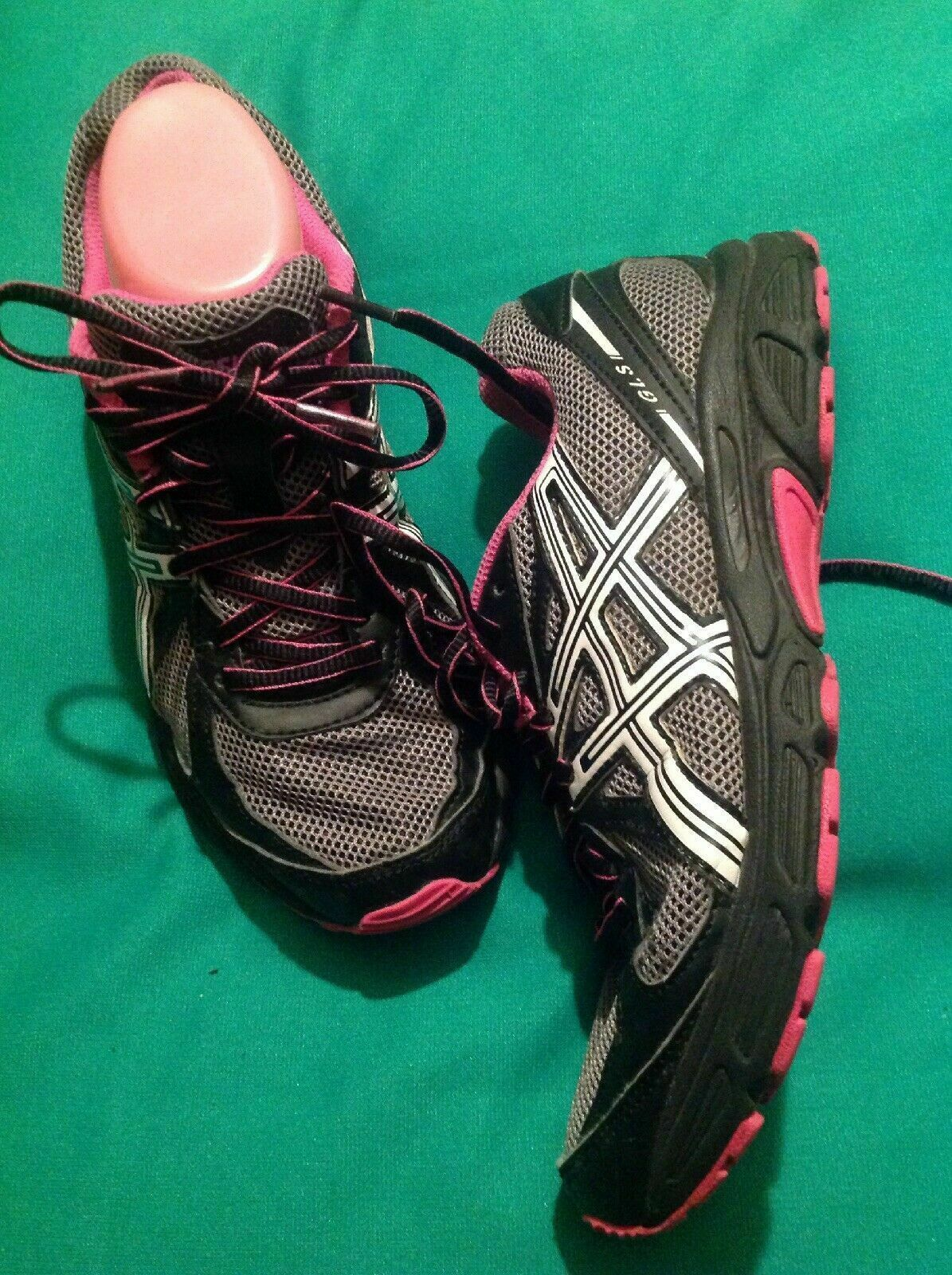 ASICS GLS T28AQ WOMEN'S 7.5M SNEAKERS WORKING TRAINING SNEAKERS BLACK/GRAY/PINK