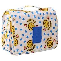 Cartoon Yellow Smiling Face Cosmetic Foldable Storage Bag Handbag