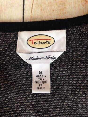 Talbots Womens Chevron Pattern Wool Blend Zip Front Sweater Jacket Made Italy M image 4