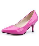 pp083 Elegant sharp head pumps, kitten heels,size 34-40, pink - $58.80