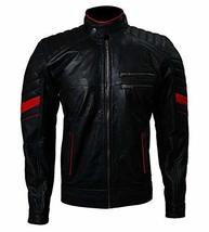 Logan X-Men Wolverine Red Stripes Black Leather Jacket - $145.00