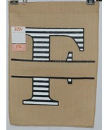 Kate Winston Brand Brown Burlap Monogram Black White F Garden Flag - $16.00