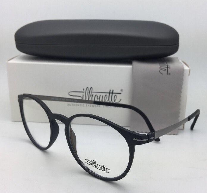 New SILHOUETTE Eyeglasses SPX 2906 75 9060 49-18 Matte Black & Gunmetal Frame