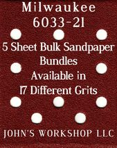 Milwaukee 6033-21 - 1/4 Sheet - 17 Grits - No-Slip - 5 Sandpaper Bulk Bundles - $7.14