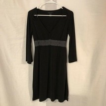 BCBG Maxazria Womens Medium Dress Black Silver A Line Knee Length Metal Loops - $29.98