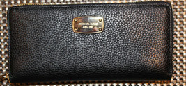 $168 NWT Michael Kors Jet Set Travel Zip  Around Leather Black Wallet - $119.99