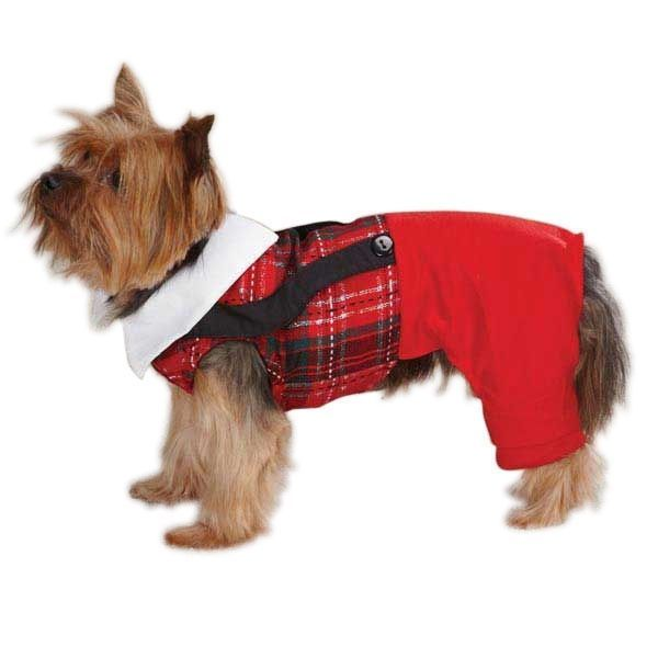 East Side Collection Dog Yuletide Holiday Tartan Party Jumper Red XS