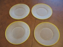 """4 Vintage Frosted Depression 8"""" Glass Plate Dishes with Yellow Trim - $18.39"""
