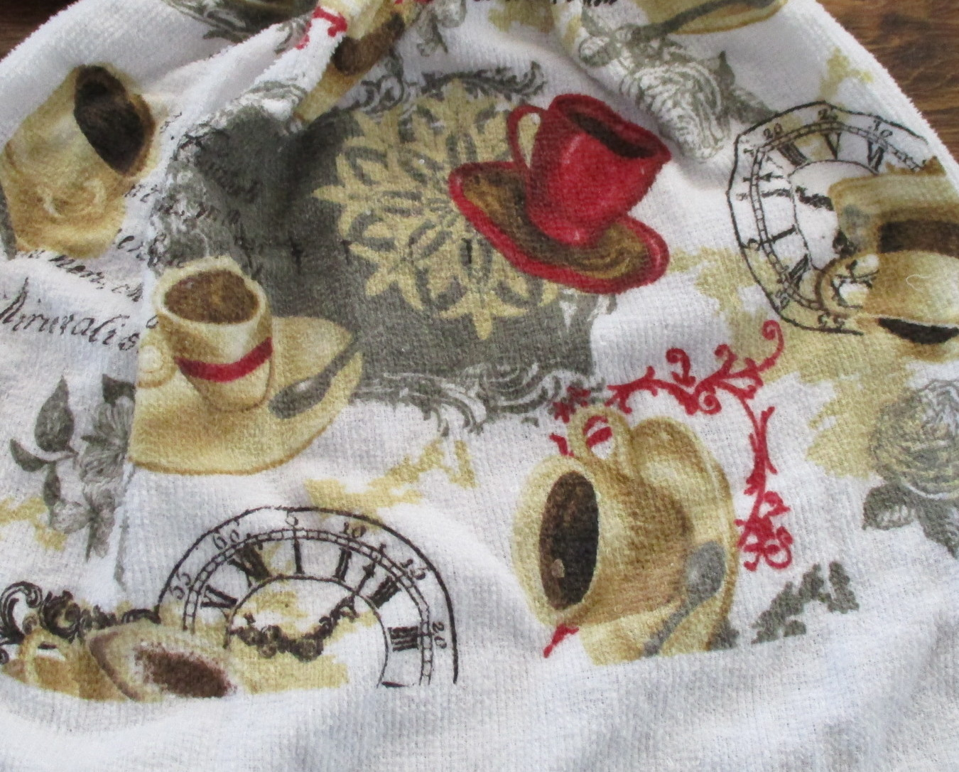 Set of Two Kitchen Towels with Crocheted Top - Cups of Coffee