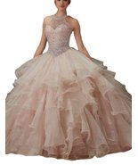 Women's Ball Gown Organza Ruffled Beading Prom Dress Halter Quinceanera ... - $189.99