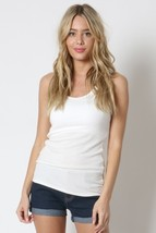 Ivory Scoop Neck Rayon Tank Top, Off White Sleeveless Top, Ribbed Ivory Tank