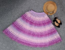 Hot Pink Purple Gray Purple Women Tier Tulle Skirts Mesh Skirt Full Midi Skirts image 8