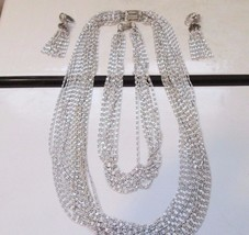 Vintage 3 Necklace Sarah Coventry Multi Chain Silver LOT w/ Earrings - $39.59