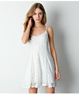 American Eagle Outfitters XS Cream Stretch Lace Fit & Flare Mini Dress Italy AE - $27.71
