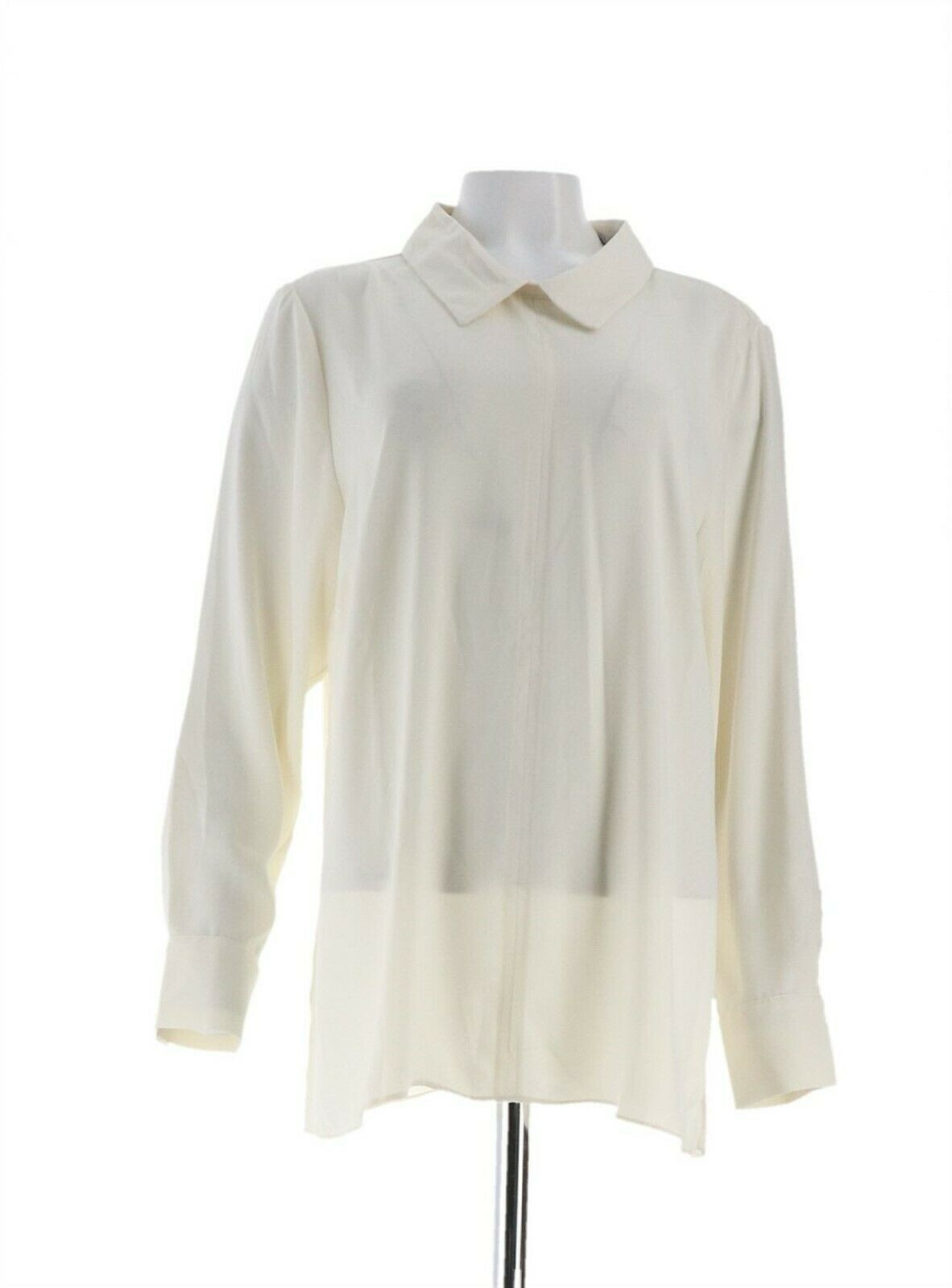 Primary image for Martha Stewart Woven Collared Blouse Back Button Heavy Cream XL NEW A342525