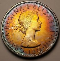 1970 UNITED KINGDOM 2 SHILLING PROOF AMAZING MONSTER TONED COLOR UNC BU ... - $197.99