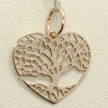 SOLID 18K ROSE GOLD 20 HEART TREE OF LIFE WORKED FLAT PENDANT, MADE IN I... - $92.00