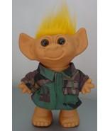"Uneeda Troll 7.5"" Wishnik 1960s Camo Shirt Dark Yellow Hair - $8.99"