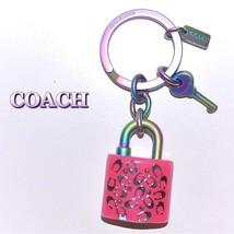 COACH Handbag PINK Keychain Anodized Iridescent Lock & Key 54986 Purse C... - $49.49